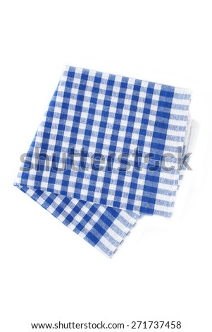 Blue napkin isolated on white - stock photo