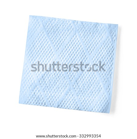 blue napkin isolated on white background with clipping path - stock photo
