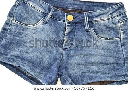 Blue natural denim  hot pants jeans detail