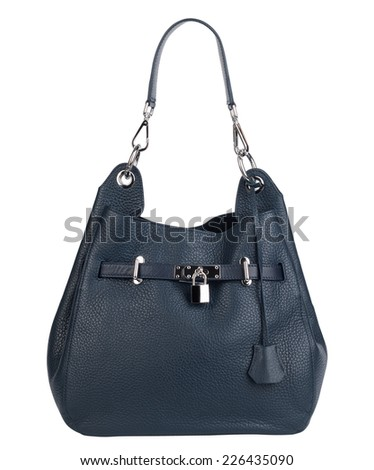 Blue natural leather female purse isolated on white