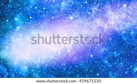 blue nebula background with stars - stock photo