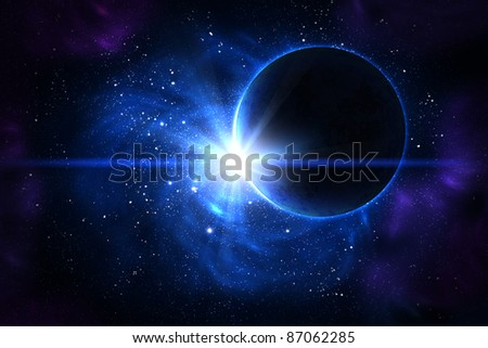 Blue nebula with stars and the planet on the foreground