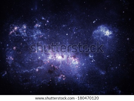Blue Nebulae - Elements of this Image Furnished by NASA - stock photo