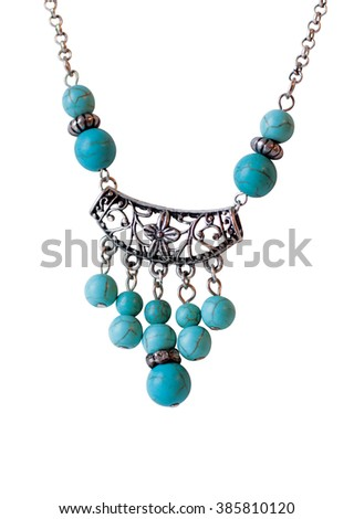 Blue necklace with stones and silver - stock photo
