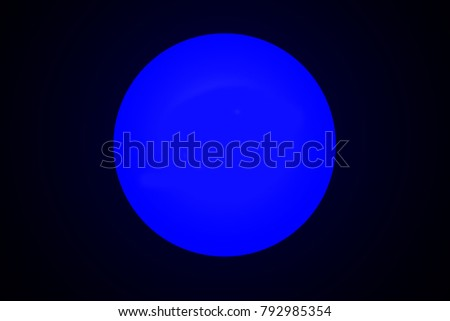 Blue neon glowing circle on black background. Abstract illustration with glowing round lights. Background with shining flares