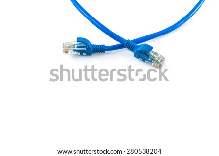 Blue Network internet cable isolated on white background
