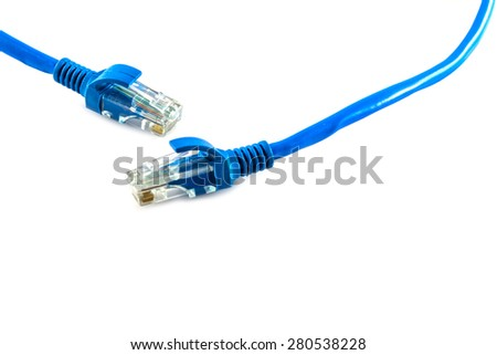 Blue Network internet cable isolated on white background - stock photo
