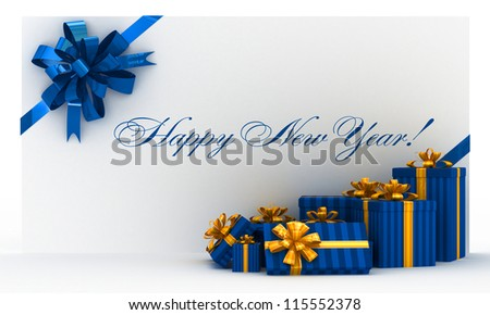 Blue new-year postal, envelope with gifts and bow on white - stock photo