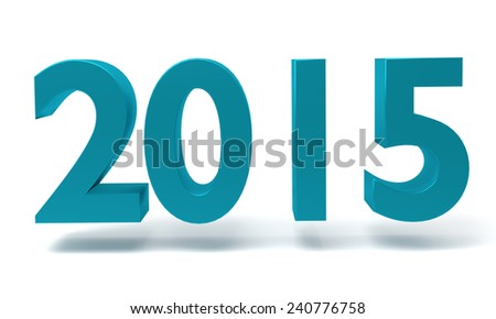 Blue New year 2015 - the 3D render on white background - stock photo