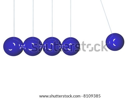 Blue Newton's cradle isolated in side view. Render