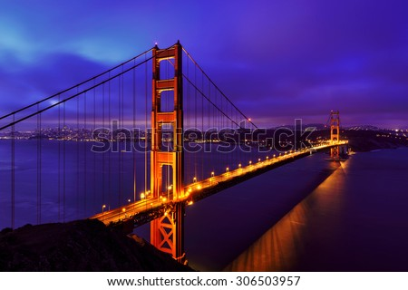 Blue night at Golden Gate Bridge in San Francisco, California, USA