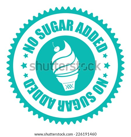 Blue No Sugar Added Icon, Sticker, Badge or Label Isolated on White Background  - stock photo