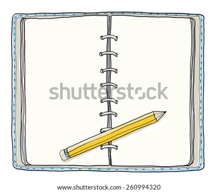 blue notebook and Yellow pencil vintage cute hand drawn - stock photo