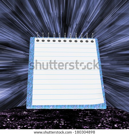 Blue notebook with strips against with beams - stock photo