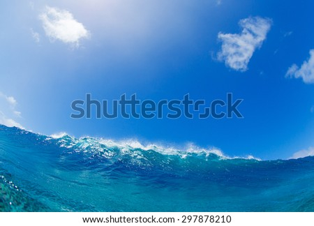 Blue Ocean Wave, Tropical Island Atoll, Nature Untouched Paradise   - stock photo