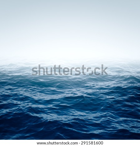 Blue Ocean with waves and clear blue sky Blue water surface - stock photo
