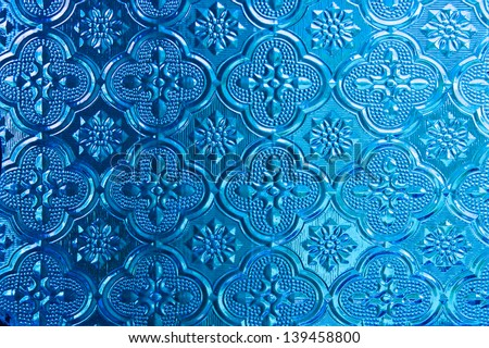 Blue of  Stained glass - stock photo