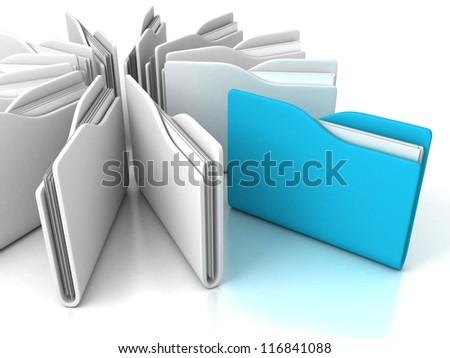 blue office folder with documents out from white group - stock photo