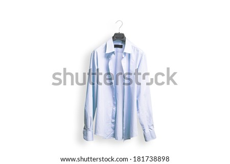 Blue office shirt with hanger on white background