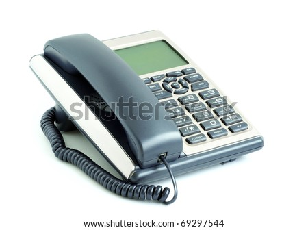 blue office telephone isolated on a white background - stock photo