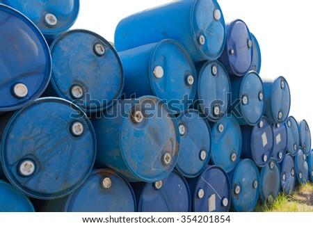 blue oil barrels - stock photo