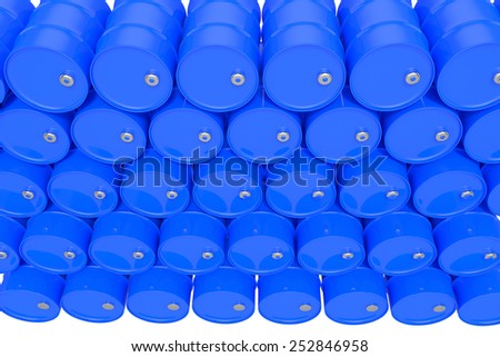Blue oil Barrels on white background - stock photo