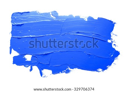 blue oil paint spot isolated on white background