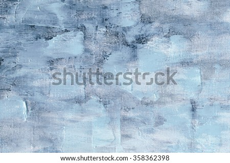 Blue oil painting background. Palette knife texture on canvas. Art concept. - stock photo