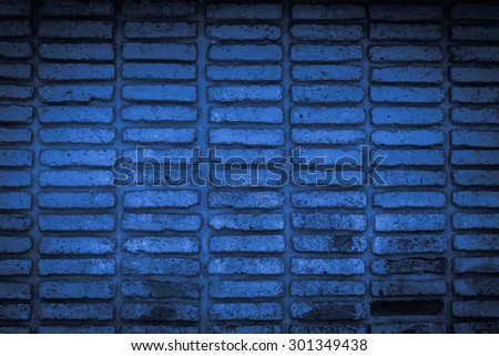 blue old brick wall texture background - stock photo
