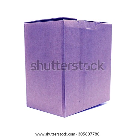 Blue Old packaging cardboard on isolated
