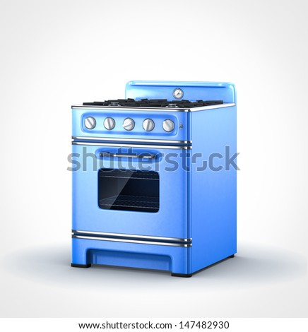 blue old vintage retro stove in perspective view