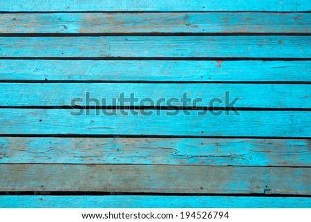 blue old wood floor wall texture - stock photo
