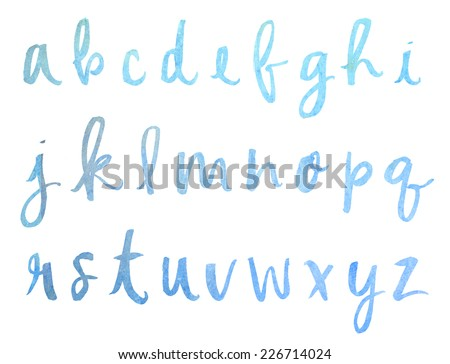 Blue Ombre Watercolor Painted Alphabet. Modern Calligraphy Alphabet. Hand Painted Messy Brush Lettered Alphabet - stock photo