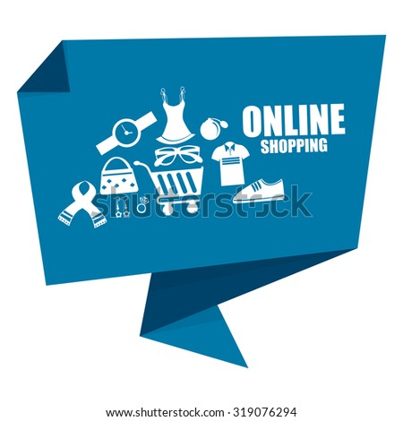 Blue Online Shopping Origami Speech Bubble or Speech Balloon Infographics Sticker, Label, Sign or Icon Isolated on White Background - stock photo
