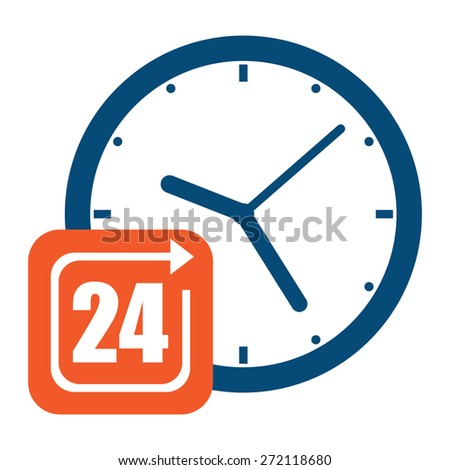 Blue Open 24 Hours or Service 24 Hours Label, Sign or Icon Isolated on White Background - stock photo