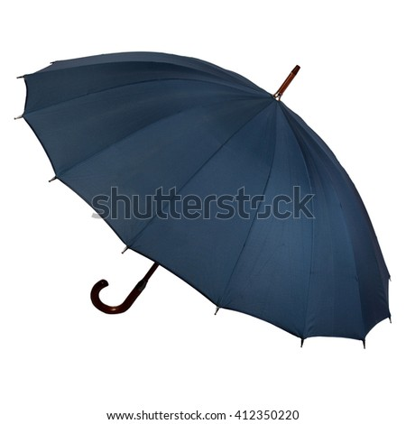 blue open umbrella. isolated on white background