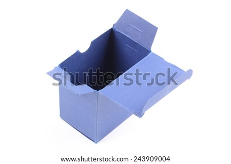 Blue opened gift box isolated over the white background - stock photo