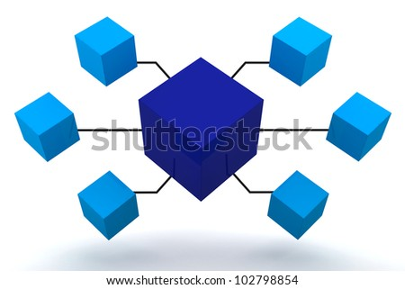 Blue Organization Box Expand 3D render - stock photo