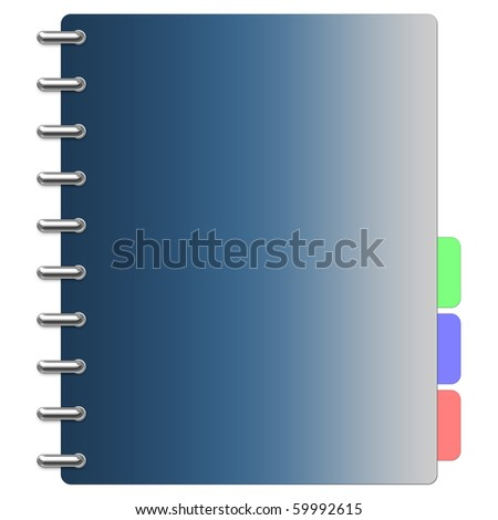 Blue organizer with metallic rings - stock photo