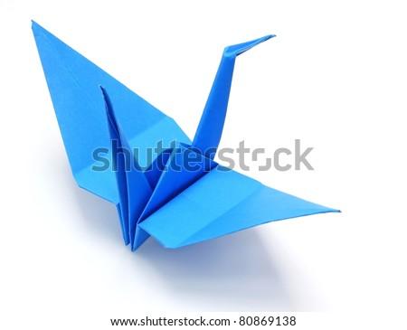 Blue origami paper crane - stock photo