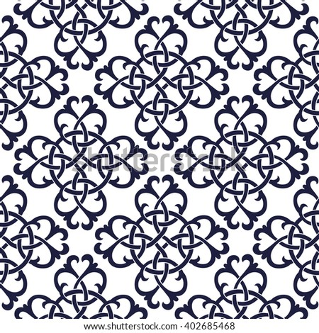 Blue ornament, white background.