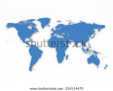 Blue outlines 3d world map on white background