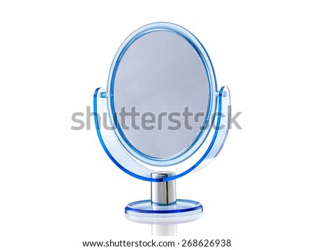 Blue oval stand mirror isolated on white background