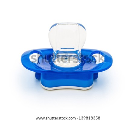 blue pacifiers isolated on white with clipping path - stock photo