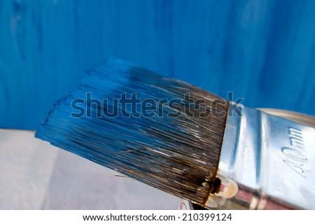Blue paint brush  - stock photo