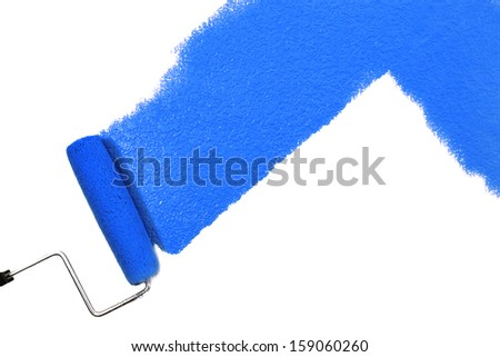 blue paint isolated on white - stock photo