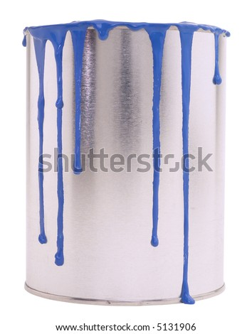 Blue Paint Pot - isolated on white