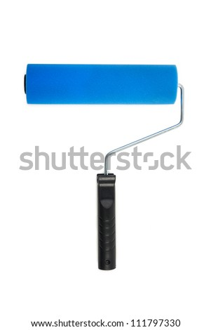 Blue Paint roller - stock photo
