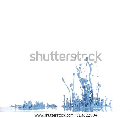 Blue paint splash - stock photo