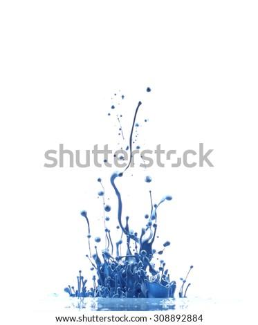 Blue paint splashing isolated on white - stock photo